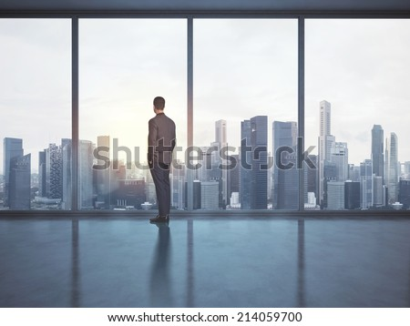 Businessman looking megalopolis through window Royalty-Free Stock Photo #214059700