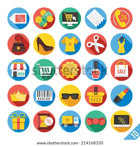 Round vector flat icons set with long shadow for web and mobile apps. Colorful modern design illustrations,objects,concepts,ecommerce icons, clothes icons, trading,marketing,shopping, business icons.  #214168330