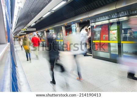 Travelers movement in tube train station, London #214190413