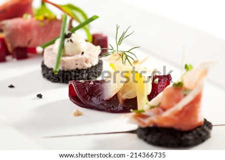 Beet Canapes with Goat Cheese Royalty-Free Stock Photo #214366735