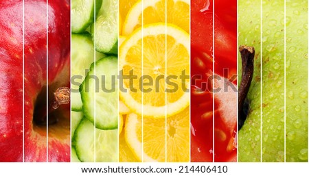 Collection of healthy fresh food backgrounds #214406410