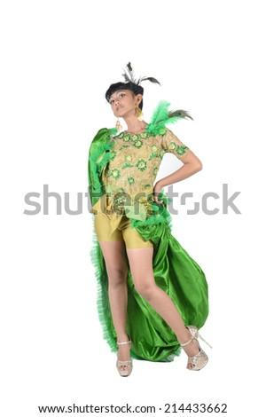 portrait of asian teenage girl dressing up in green kebaya modification on white background #214433662