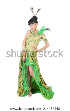 portrait of asian teenage girl dressing up in green kebaya modification on white background #214434448