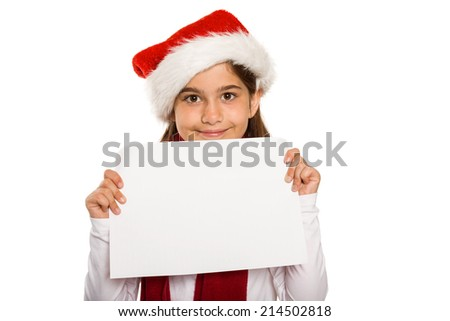 Festive little girl showing card on white background #214502818