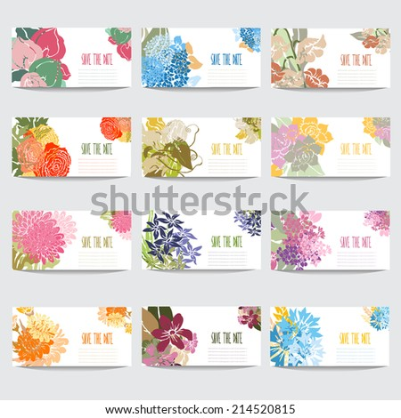 12 elegant cards with floral bouquets, design elements. Can be used for wedding, baby shower, mothers day, valentines day, birthday cards, invitations. Vintage decorative flowers.