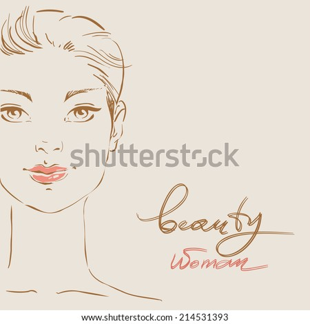 beautiful woman face hand drawn vector illustration eps 10 #214531393