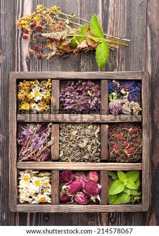 Dried Herbs and flowers in vintage box  #214578067