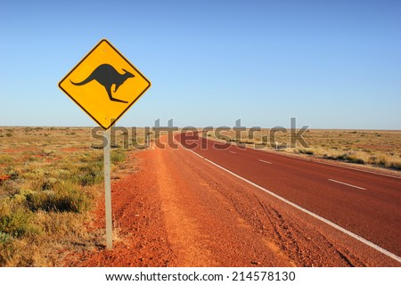 Kangaroo traffic sign Royalty-Free Stock Photo #214578130