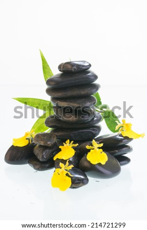 Black zen stones with Dancing Lady orchids and green leaves close up  #214721299