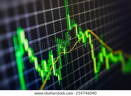 Display of Stock market quotes. Macro close-up. Shallow depth of field effect and mouse pointer cursor showing current price movement. Display of Stock market quotes pricing abstract background graph.