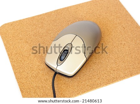 Computer mouse and mousepad on white background #21480613