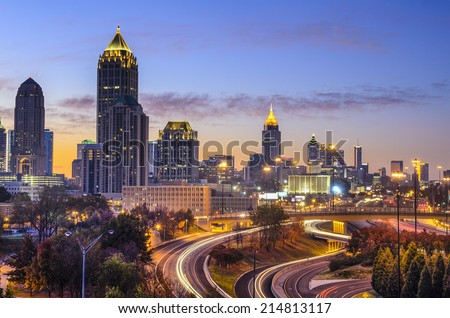 Atlanta, Georgia downtown skyline at sunrise.