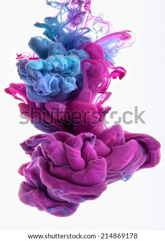 Colors dropped into liquid and photographed while in motion. Ink swirling in water. Cloud of silky ink in water isolated on white background. Colorful ink in water, an abstract banner.  #214869178