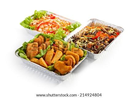 Airplane Food - Fried Food, Noodles and Vegetable Salad #214924804