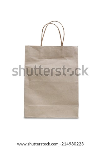 Blank brown paper bag isolated on white background #214980223