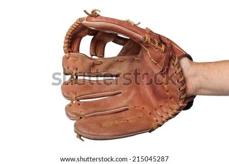 Baseball glove on a white background Royalty-Free Stock Photo #215045287