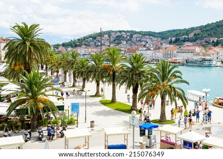 TROGIR, CROATIA - AUG 22, 2014: Architecture of the Old Town of Trogir, Croatia. UNESCO World heritage site #215076349