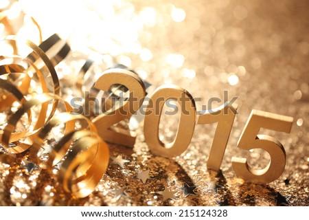 New year decoration,Closeup on 2015. Royalty-Free Stock Photo #215124328