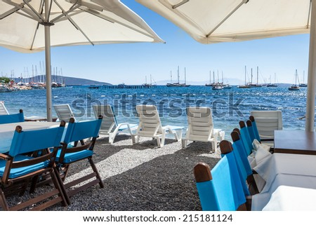 Beautiful cafeteria at the beach, Greece  #215181124