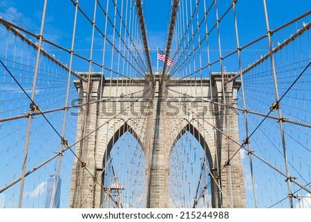 The New York City Skyline from Brooklyn Bridge
