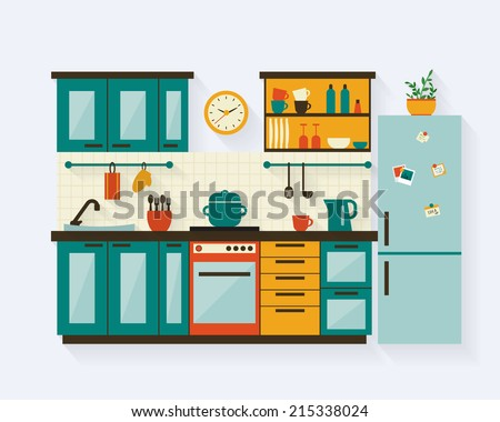 Kitchen with furniture and long shadows. Flat style vector illustration. Royalty-Free Stock Photo #215338024