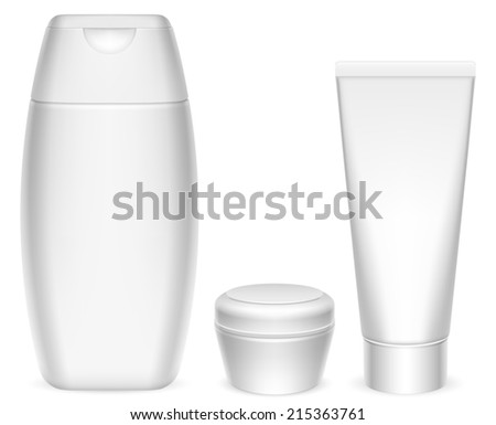 Three blank white cosmetics containers.