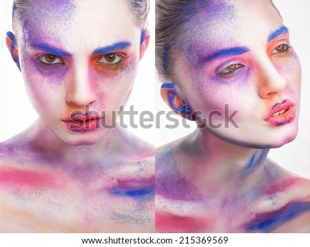 beautiful young woman with creative make-up, beauty portrait #215369569