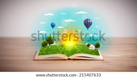 Open book with green nature world coming out of its pages, ecological concept #215407633