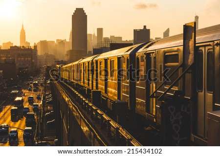 Subway Train in New York at Sunset #215434102