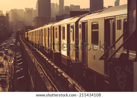 Subway Train in New York at Sunset #215434108