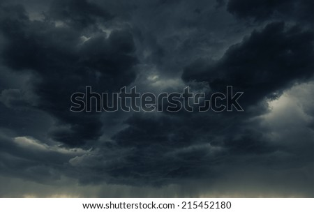 Heavy Dark Storm Cloud and the Falling Rain. Stormy Weather