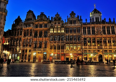 Brussels, Belgium - January 13,2013 - Grand Place at Dusk. The Grand-Place is the central square of the City of Brussels. All over the world it is known for its decorative and aesthetic wealth. #215465692