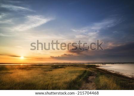 Beautiful Summer sunset landscape over wetlands and harbor #215704468
