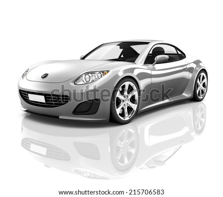 Luxury Silver 3D Sports Car #215706583