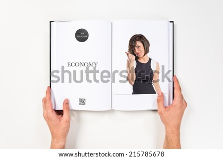 Woman doing a money gesture printed on book #215785678