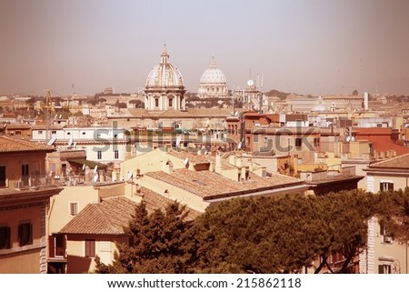 Rome, Italy. Famous Aerial view of the city with Vatican visible. UNESCO World Heritage Site. Cross processed color style - retro image filtered tone. #215862118