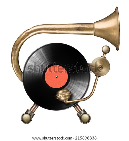 Stylized metal collage of vinyl record turntable Royalty-Free Stock Photo #215898838