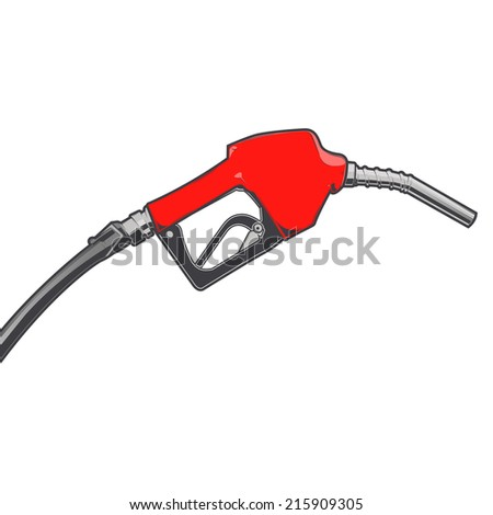 Red fuel nozzle with hose isolated on a white background. Color line art. Retro design. Vector illustration. #215909305