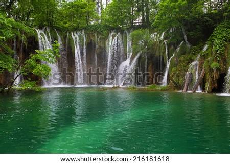 Waterfall in the Plitvice Lakes in Croatia  #216181618
