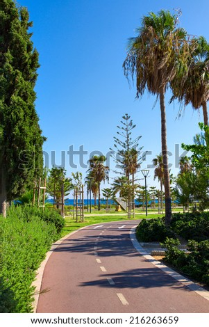 Empty cycling track along the park near the Mediterranean sea #216263659