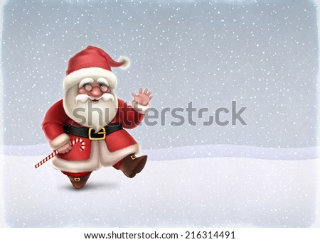 Christmas card with illustration of Santa Claus  #216314491