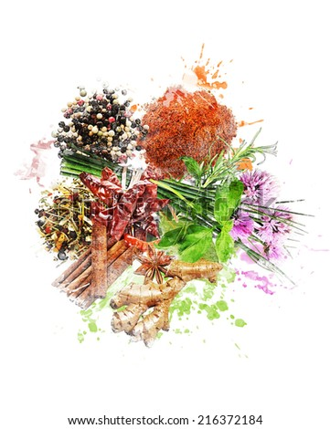 Watercolor Digital Painting Of  Spices And Herbs #216372184