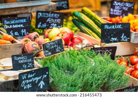 Fresh and organic vegetables at farmers market  #216455473