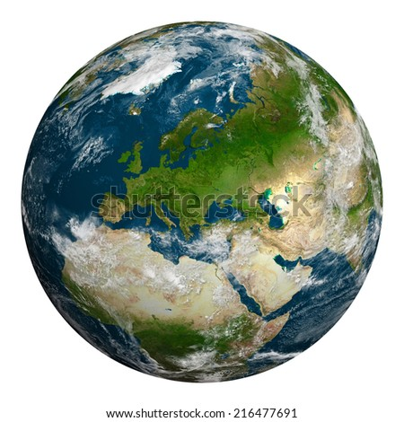 Planet earth with clouds. Europe, part of Asia and Africa. Elements of this image furnished by NASA. #216477691