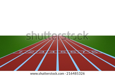 Running track and start position on white background #216485326