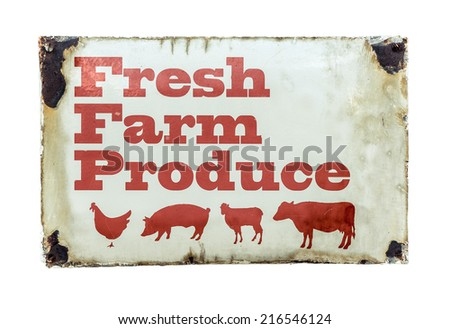 Grungy Rustic Vintage Sign For Fresh Farm Produce