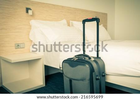 Prepared fresh bed, scene in hotel room. Horizontal retro toned shot #216595699
