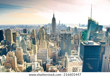 Skyscrapers. Manhattan is one of places with the greatest concentration of the capital in the USA. #216601447
