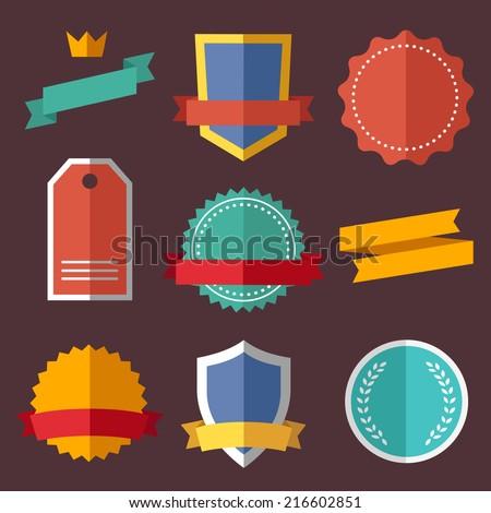 Vintage, retro flat badges, labels Royalty-Free Stock Photo #216602851