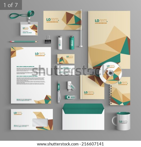 Vector stationery template design with origami elements. Documentation for business. Royalty-Free Stock Photo #216607141